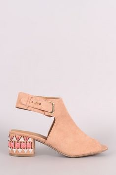 4a2a00902 Qupid Suede Embroidery Mule Blocked Heel