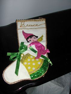 Vtg Flannel Christmas Stocking Sequins Appliques by AidensVintage