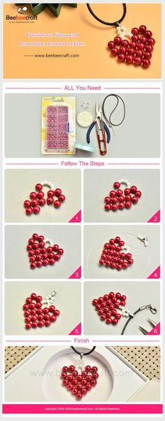 PandaHall Elite Crimson Round Glass Pearl Beads Various Size Loose Beads, about # Beebeecraft Tutorials auf . Beaded Crafts, Beaded Ornaments, Jewelry Crafts, Seed Bead Tutorials, Beading Tutorials, Beaded Jewelry Patterns, Beading Patterns, Beads And Wire, Pearl Beads