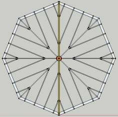 Octagon Layout for 8 foot landscape timbers, cut angles at