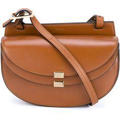 Chloé Mini Leather Georgia Handbag ($755) ❤ liked on Polyvore featuring bags, handbags, shoulder bags, brown leather crossbody, mini purse, brown leather purse, shoulder handbags and brown cross body purse