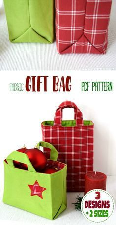 Fabric gift bag pattern in 6 variants. It's perfect to hold all your Christmas gifts - with SEW-TO-SELL license. The PDF sewing pattern has detailed step-by-step instructions with lots of photos. Easy bag, looks great and polished due to a sewing tip presented in the instructions - no corner boxing needed, yet it looks like boxed corners! Check it out now.