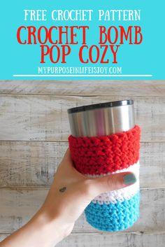 Crochet Bomb Pop Cozy is the perfect patriotic summer accessory for your 20 oz tumbler! Reminds you of childhood even if you're drinking an adult beverage! #crochet #crochetpattern #freecrochetpattern #crochetpatriotic #4thofjuly #20oztumbler #rambler #redwhiteandblue #patriotic #adultbeverage #bombpop #popsicle