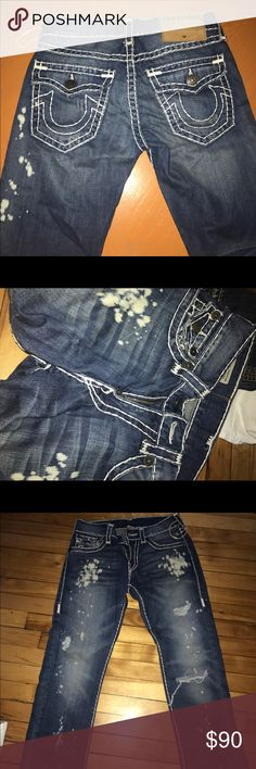 True religion jeans tighter fit than usual bleach design done by true religion. Very good condition! True Religion Jeans Straight