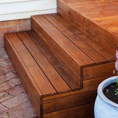 Decking over concrete porch & steps # build wood steps over concrete steps Update your front porch Concrete Patios, Deck Over Concrete, Concrete Porch, Concrete Steps, Wood Patio, Wood Decks, Patio Steps, Front Porch Steps, Outdoor Steps