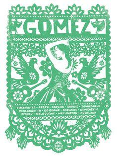 Gomez The Band Australian Tour 2012 Papel Picado Banner Quinceanera Silk Screen Rock Poster