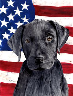 USA American Flag with Labrador House Vertical Flag