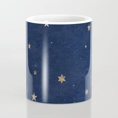 Good night - Leaf Gold Stars on Dark Blue Background Coffee Mug - A festive but simple, bordering on rustic design for the holiday season.