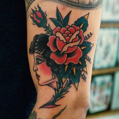 #gypsy #girl with #rose #traditional #tattoo #christianotto #burnoutink #npng Thanks