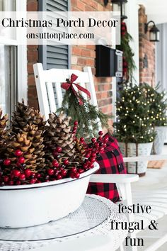 Christmas Front Porch | Festive & Frugal Christmas Porch Decor | Ideas for adding easy touches of Christmas to welcome your family and friends to your home.