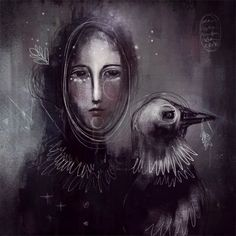 Lady Crow by Ivy Newport  #art #digitalart #procreate #ipad  #crow #paintandpixels