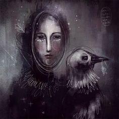 Lady Crow by Ivy Newport  #art #digitalart #procreate #ipad  #crow #paintandpixels