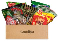 Grub Box. Up to 10 full sized packages. Exotic flavors from around the world. Discover new snacks monthly! $24/month