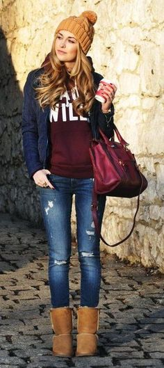 #winter #fashion /  Mustrard Beanie // Navy Jacket // Burgundy Sweater // Ripped Jeans // Camel Booties