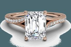 Rose gold with emerald cut.