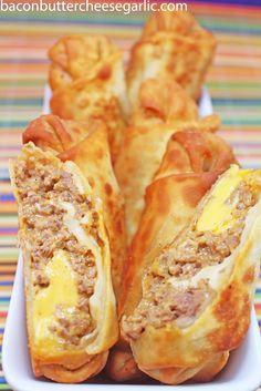 Bacon, Butter, Cheese & Garlic: Cheeseburger Eggrolls