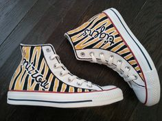 Tiger Stripe Painted Converse or TOMS Shoes