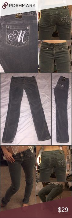 """Morgan De Toi Corduroy skinnies Grayish moss green corduroy skinny pants by Morgan De Toi. Super comfy & 33 inch inseam so they'll fit a tall girl well or someone my height (5'3"""") should wear heels/wedges with them Morgan De Toi Pants Skinny"""