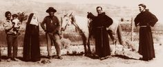 St Katharine Drexel with two Franciscan friars among the Navajo in Lukachukai, Arizona, in 1927 [© The Sisters of the Blessed Sacrament Archive]