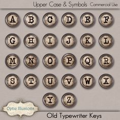 Old Typewriter Keys - INSTANT DOWNLOAD - Commercial Use - CU - Digital Scrapbooking Elements - Scrapbooking, Card Making, Invitations - by opticillusions on Etsy https://www.etsy.com/listing/82254866/old-typewriter-keys-instant-download