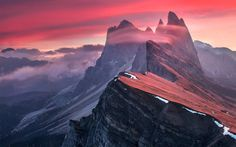 """The Red Barrier - Feel free to check out my <a href=""""https://www.facebook.com/pages/Max-Rive-Photography/182378168614600?fref=ts"""">'Facebook Page</a>    Mist is forming into long stretched clouds before sunrise on the tops of the Odle range.   While I was continuously shooting to make sure I wouldn't miss the best ''moving clouds'' effect I wasn't even thinking about sunrise colors so it was a nice surprise to say the least when I saw ''some'' colors true my viewfinder.   Because of the long…"""