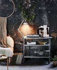 Record player, Christmas lights, sheepskin....I'de be happy.  Seriously this is a bachelor dream pad. #surroundyourselfwithwhatyoulove #smallapartmentdecor #ikea