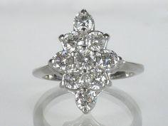 Vintage Diamond Cocktail Ring  0.95 Carats by lonestarestates $1100.00