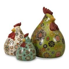 Imax Canvon Geometric Complementary Hens SET OF Three Hippy Ceramic Chickens | eBay