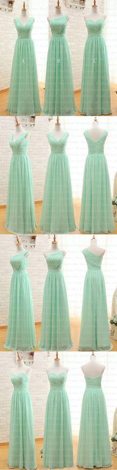 long bridesmaid dress, mint bridesmaid dress, cheap bridesmaid dress, chiffon…