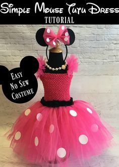 Mouse Tutu Dress Tutorial | How to make a polka dot mouse dress, no sew, easy…