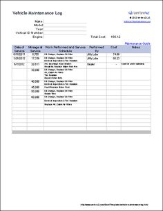 Free Vehicle Maintenance Log Template for Excel #fleet #maintenance #tracking http://montana.nef2.com/free-vehicle-maintenance-log-template-for-excel-fleet-maintenance-tracking/  # Vehicle Maintenance Log Track your auto repairs and create a vehicle maintenance schedule using Microsoft Excel Vertex42's new vehicle maintenance log template was created based on a user's request for a template to keep track of auto repairs and upkeep. It has all the requested features, including columns for the…