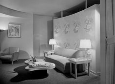 Beverly Hills hotel guest room, 1940s