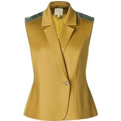 Leka - Olive Green Wool & Silk-Blend Metallic Epaulette Vest (205 CAD) ❤ liked on Polyvore featuring outerwear, vests, brown vest, olive vest, green military vest, brown wool vest and brown waistcoat