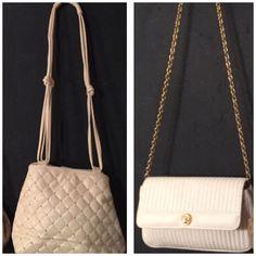 Vintage white & gold bundle 80's white purses good condition Vintage Bags