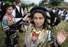 Bulgarian Karakachani's wearing the traditional dress are seen during the annual Karakachani's festival near the town of Sliven