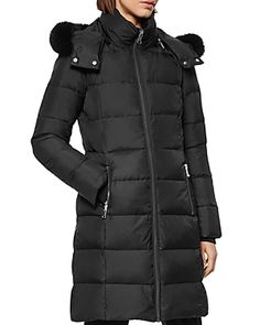 Andrew Marc Fur-trim Quilted Coat In Black/black Fur Andrew Marc, Fur Trim, My Bags, Canada Goose Jackets, Coats For Women, Shopping Bag, Winter Jackets, Clothes, Black