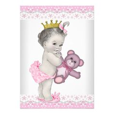 Pink and Gray Princess Baby Shower Personalized Invitation