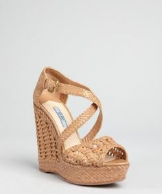 Prada nude woven leather peep toe wedge sandals   BLUEFLY up to 70% off designer brands at bluefly.com