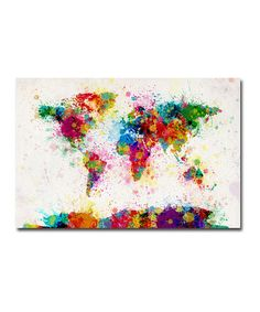 Paint Splashes World Map Gallery-Wrapped Canvas by Michael Tompsett