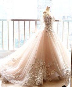 Elegant Ball Gowns Wedding Dress Chapel Train Lace Blush Pink Wedding Dresses 2016 F1211 $238.40