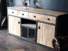 meuble bois et metal buffet bois de palette et acier racalisation sur mesure wwwmichelidesignfr meuble bois metal pas cher