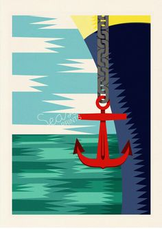 Nautic Poster Old Ship anchor aweigh sea life by seasideprints, $12.00