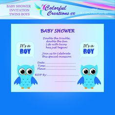 """OFF SALE Baby Shower Twin Boys Invitation """"Double Trouble"""", Twin Boys Baby Shower Invitation, Owls, Printable, Personal Commercial Use Twin Boys, How To Have Twins, Double Trouble, Frame It, Baby Shower Invitations, Rsvp, Digital, Fun, Crafts"""