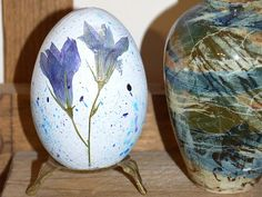 Rustic Easter wood egg with Real fried flower-Easter decoration-Easter decor-Wood eggs-Natural decoupage egg-Shabby chic-Blue-Eco friendly