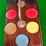Bakelite gaming counters,walnut box,brass carrying handle. | Browns Antiques Billiards and Interiors.