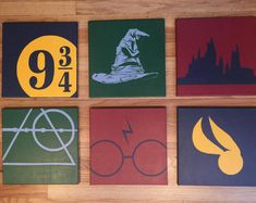 Items similar to A set of 4 Harry Potter Minimalist Hand Painted Acrylic Canvas on Etsy : A set of 6 Harry Potter Inspired Minimalistic Hand Painted Acrylic Canvas Harry Potter Canvas, Décoration Harry Potter, Harry Potter Painting, Harry Potter Bedroom, Harry Potter Drawings, Small Canvas Paintings, Small Canvas Art, Mini Canvas Art, Canvas Canvas