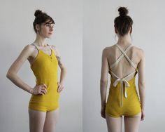 Vintage 40s Yellow Wool Swimsuit