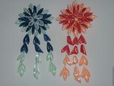 Купить Заколка двухцветная - комбинированный, заколка для волос, подвеска, канзаши, для девочки, для девушки