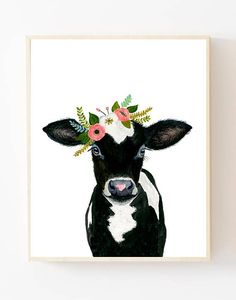 Baby animal : flower cow calf This is a print of my original watercolor painting. The colors are rich and vibrant and the print looks so much better in real life. Materials: Printed on beautiful high quality, archival and acid free velvet fine art paper using professional Epson Ultra