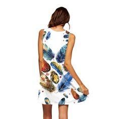 4770ba7ee BHflutter Women Dress 2019 New Arrival Rose Print Sleeveless Summer Dress O  neck Casual Loose Mini Chiffon Dresses Vestidos